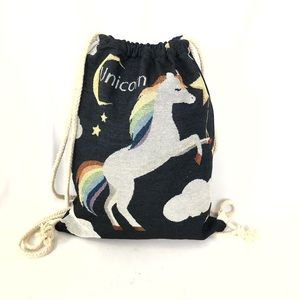 Other - 🦄🌈EMBROIDERED UNICORN CANVAS DRAWSTRING BACKPACK